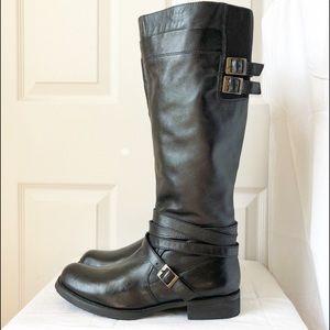 Miz Mooz Black Leather Kelsey Tall Boot 8.5 H9